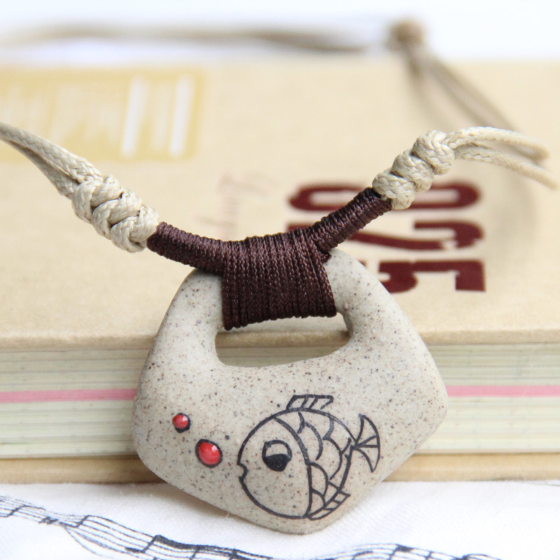 Ceramic Necklace, Clay Fish Pendant 2013 Fashion Vin