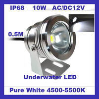 IP68 AC/DC12V 10W Underwater Lighting LED Waterproof Floodlight Pure White Flood Light of Outdoor Aquarium n Free Shipping J1320