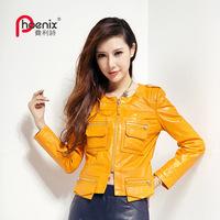 2013 genuine leather female motorcycle clothing slim short coat design