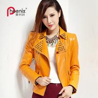 2013 autumn leather jacket female genuine leather sheepskin clothes female short coat slim design