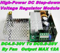 Freeshipping DC Adjustable Converter Power Supply Module 4.5-30V to 0.8-28V 12A Output DC Step-Down Voltage Regulator 24V To 12V