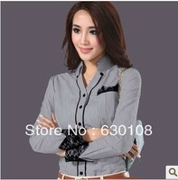 2013 New Autumn Fashion women blouse clothes Casual Career ladies fall tops plus size Big yards cotton long-sleeved office shirt