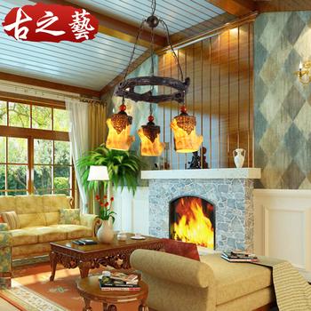 Personalized vintage resin pendant lamp american style living room lights study light antique Lantern Fair lamp
