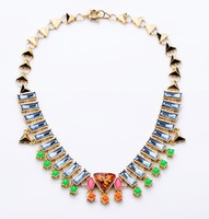 Minimum order $ 10 (mix order) Fashion 2013 Jewelry Gold Color Alloy Triangle Spike Punk Style Choker Necklace for Women