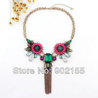 New Fashion Jewelry Simulated Gemstone Flower Vintage Tassel Chains Pendent  Necklace