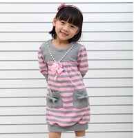 1 pieces retail new cotton classic children girls pink striped sweater dresses
