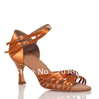 Wholesale Tan Satin Salsa Latin Ballroom Shoes Salsa Dance Shoes Cha Cha Shoes Size 35,36,37,38,39,40,41