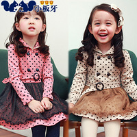 Small die 2013 autumn children's clothing polka dot lace child baby female child long-sleeve dress 6560