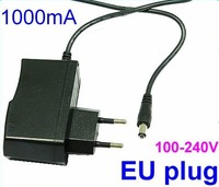 Wholesale AC 100V-240V to DC 12V 1A EU Plug Power Supply Adapter Wall Charger DC 5.5mm x 2.1mm 1000mA 100pieces/lot