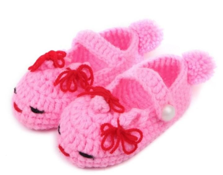 Novo Design Handmade Crochet bebê Calçados Infantil Primeiro Walkers Shoes Calçados criança , crianças, pequeno coelho de sola macia Shoes(China (Mainland))