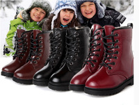 Child winter martin boots bright japanned leather large cotton child leather thermal snow boots cotton boots