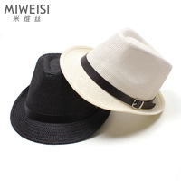 Summer  jazz hat sunbonnet  leather buckle on strawhat sunscreen fedoras lovers beach hat