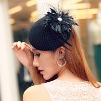 Wool cap  hat  gauze feather fedoras banquet fashion cap