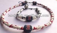 Frozen Rope Genuine Baseball Leather Necklace & Bracelet Set, 50 set/lot, Free Shipping