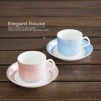 Bone china coffee cup lovers set mug gift box polka dot polka dot