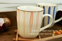 Zakka cups cup japanese style porcelain mug blue and red lovers with handle