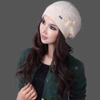 Free shipping one-piece spring and autumn winter women's fashion elegant sheep knitted hat