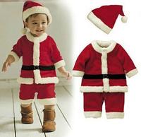 Baby Christmas Santa Claus suit winter fleece baby boy style leotard Romper+hat children's clothing baby girls dress+hat