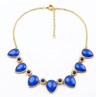 Min. order is $10 (mix order) free shipping Vintage drop gem luxury all-match necklace short chain necklace female