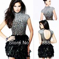 Top Beaded Bling Bling Elegant Backless Short Feather Cocktail Dresses