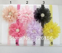 Free Shipping (36pcs/lot) Lace Wavy Edge Flowers Headband Flower Shoe Flower With Headband Hair  Accessories