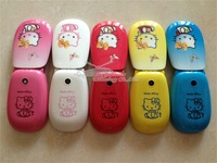 Free Shipping 2013 Hello Kitty Flip Cell Phone D10 Children Hello Kitty Flip Mobile Phone  Single Sim Russian menu keyboard
