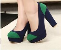 Spring and autumn scrub velvet genuine leather liner color block decoration thick heel ultra high heels platform shoes size