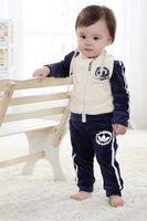 Autumn children's clothing male child autumn shampooers baby clothes velvet child zipper sweater set