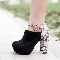 Fashion colorant match scrub velvet serpentine pattern PU hasp platform back zipper thick heel ultra high heels single shoes