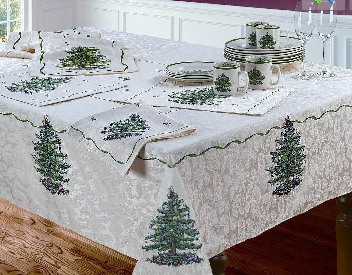 Derlook spode christmas tree christmas tree handmade jacquard table cloth round tablecloth(China (Mainland))