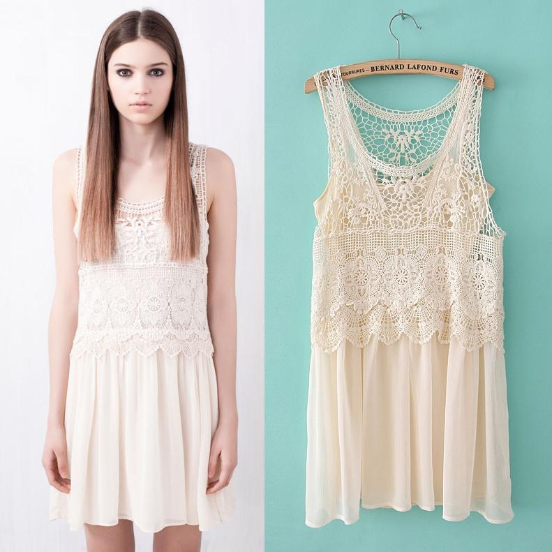 2013 spring and summer fashion pull bear crochet vest twinset spaghetti strap one-piece dress tank dress(China (Mainland))