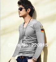 Men clothing Badge casual men items 2014 mens fashion 100% cotton long sleeve t shirts high quality slim men's t shirt 3 colors