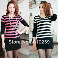 A563 free shipping 2013 women new fashion korea o neck long sleeve stripe hip dress autumn winter sweater dresses knitted shirts