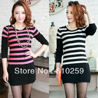 A563 free shipping 2013 women new fashion korea o neck long sleeve stripe hip dress autumn winter sweater dresses knitted shirts