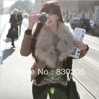 2013 Winter Women's Slim Real Fox Fur Turn Down Collar Short Design Two Pieces Detachable Liner Khaki Leather Jacket Free Ship