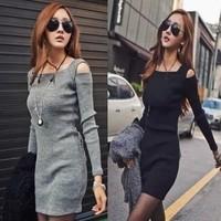 Free shipping 2013 autumn sexy slim dress strapless long-sleeve slim hip one-piece dress