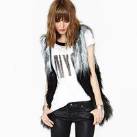Black sleeveless fur vest