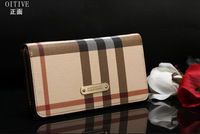 2013Classic grid wallet purse hand bag grid of England long wholesale ladies wallet purse