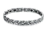 Luxury CZ Crystal Rhinestone Magnetic Healthy Steel Bracelet For Women Germanium Stones Bracelets Ladies Bob Marley Bracciale