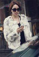 Faux o-neck short design color block decoration outerwear fur coat patchwork