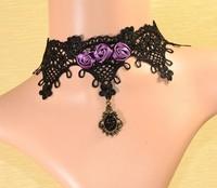 Retro Gothic Purple Rose Lace Choker Necklace Vintage Victorian Rose Short Necklace T3290