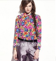 2013 summer spring autumn fashion women floral   blouses free shipping