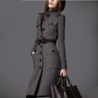 2014 Brand Ladies Wool Blends Jacket,Women's Cloth Coat,Lady Fashionable Long Overcoat,Woman European Stylish Overcoat Freeship