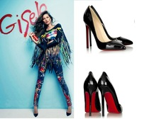 The new European and American thin with multi-colored high heel patent leather pointed shoes women's singles