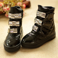Fashion 2013 child winter boots plaid rhinestone female child medium-leg princess boots single boots winter boots