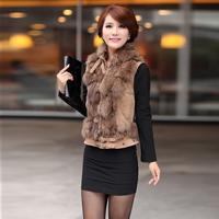 Danelster women's slim women's fox fur vest short design vest