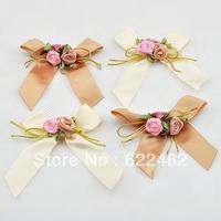 100 Pcs satin ribbon flowers bow w/leaf rose wedding sewing appliques DIY A0123