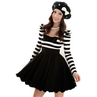2013 new black and white stripes with bowknot puff sleeve long-sleeved chiffon dress