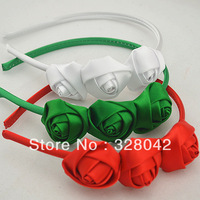 Trail order christmas triple satin rose hairband DIY mini rosettes satin covered  headband hair accessory 30pcs/lot