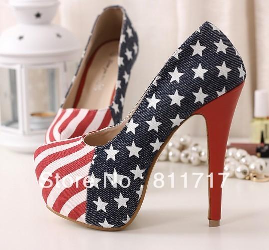 [해외]Female Shoes American Flag Ultra High Heels Single..